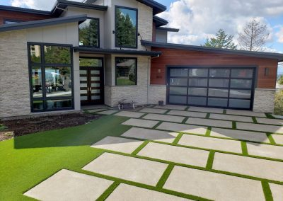 Modern Driveway with Synthetic Grass