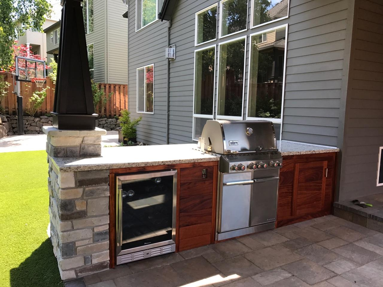 An outdoor kitchen space.